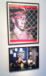 "Silkscreen poster for Charlie Ahearn's Super-8 feature film ""Deadly Art of Survival"" (1978), and a photo of the star, Nathan Ingram, in his karate school."