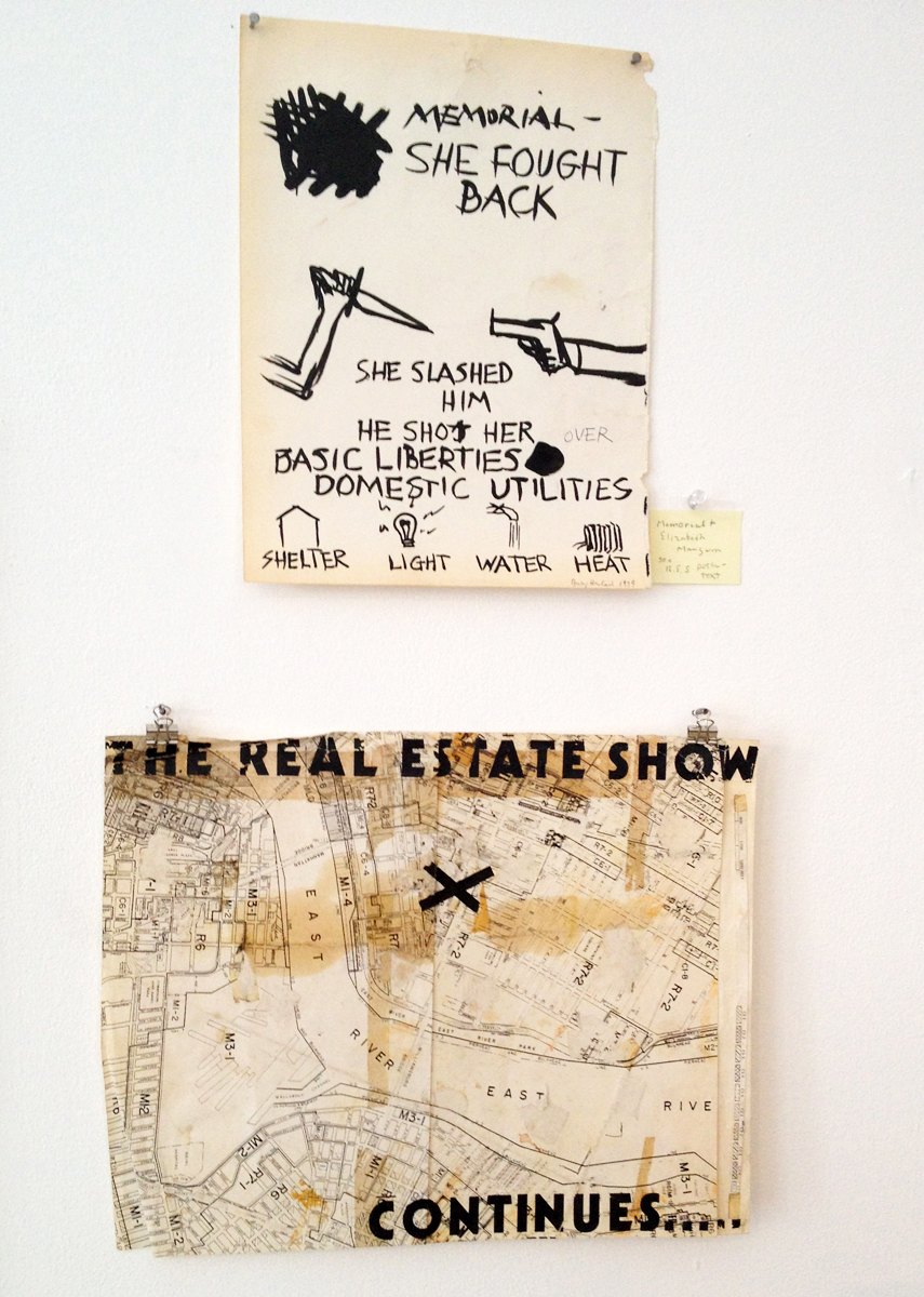 Drawing by Rebecca Howland recalls Elizabeth Mangum, murdered by police during an eviction, to whom the Real Estate Show was dedicated.