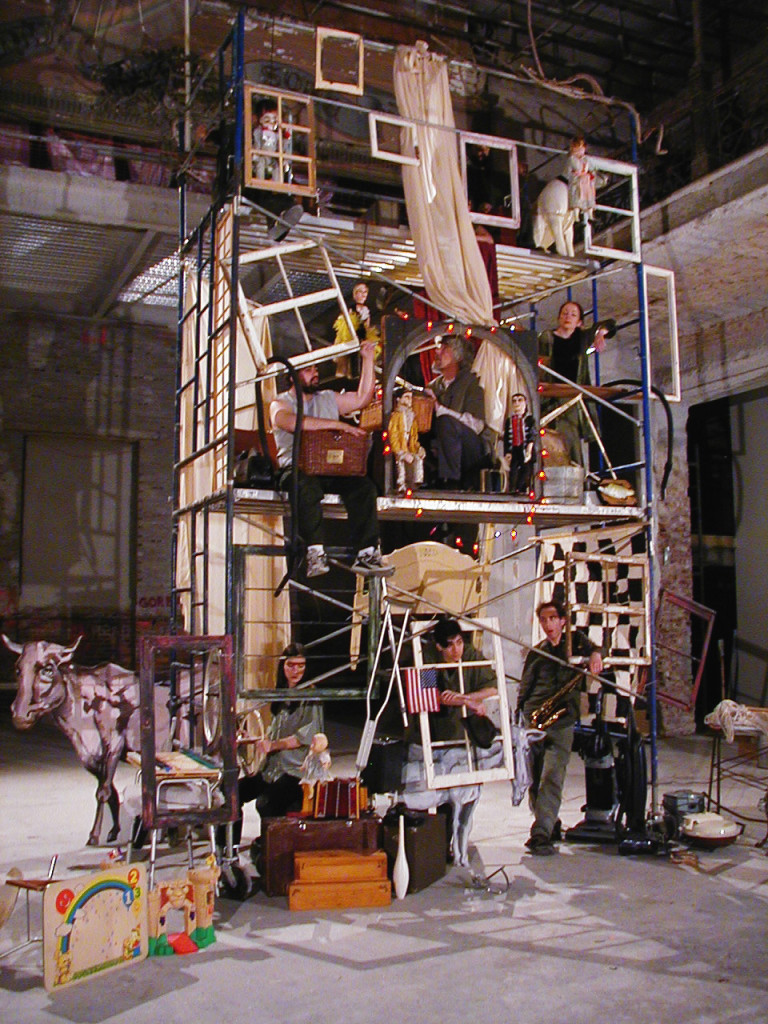 "The set for Vit Horejs ""ethno-opera"" about Lower East Side history loosely based on Yuri Kapralov's novel Once There Was a Village. Horejs worked in Kapralov's Sixth Sense gallery, and was part of the Seven Loaves coalition of arts groups involved in the El Bohio project at the old P.S. 64. (Photo by Yvonne Hespos)"